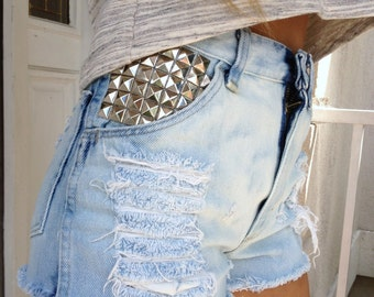 High waisted light blue shorts waist sizes 22,23,24,25,26,27,28,29,30,31,32 available and young girls sizes too