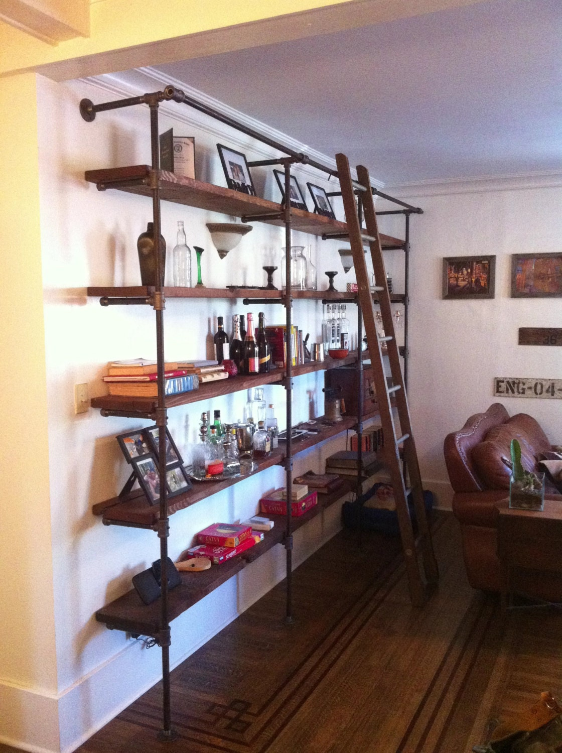 Custom-Sized Industrial Pipe and Reclaimed Wood Shelving