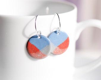 Handmade Enamel Earrings, Copper Enamel, Orange Blue Cream, Patterned Earrings, Sterling Silver Ear Wires, Torch Fired Enamel Earrings