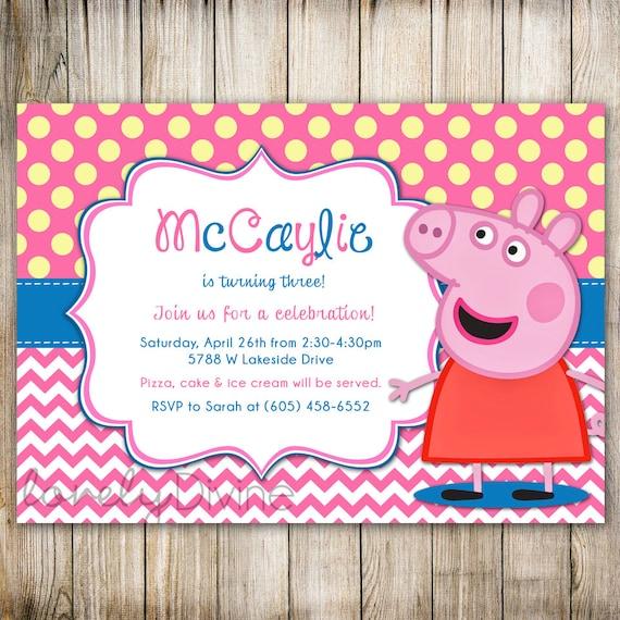 May The 4th Be With You Invitations: Items Similar To Peppa Pig Birthday, Chevron Polka Dot