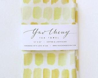 Yellow Dots- Watercolor Tea Towel