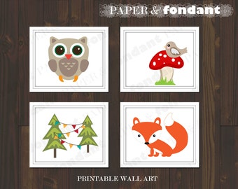 INSTANT DOWNLOAD - PRINTABLE Wall Art - Poster- Woodland theme featuring Owl & Fox