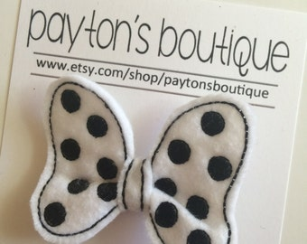 White with Black Polka Dot Felt Classic Mouse Bow Boutique Clip