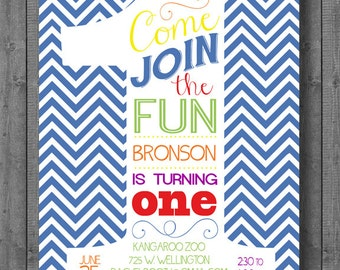 First Birthday Invitation - Digital File - Customized - 5x7 -Printable