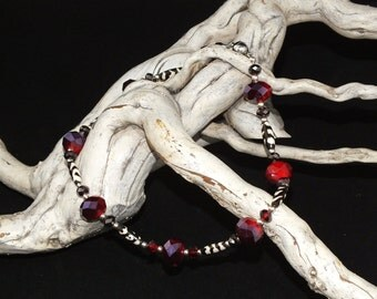 Porcupine quill and red to purple crystal necklace, OOAK free shipping USA made