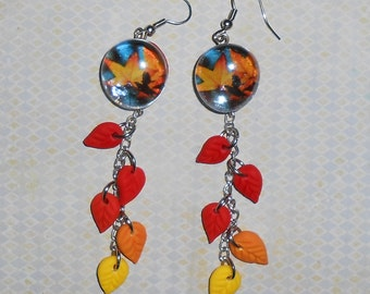 Fall leaves Earrings with Multi colored Leaf Dangles