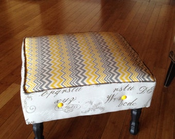 Beautiful Gray & Yellow Custom Ottoman