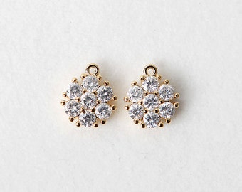 3019031 / Round Cubic / 16k Gold Plated Brass with Cubic Zirconia Pendant 9mm / 1g / 2pcs