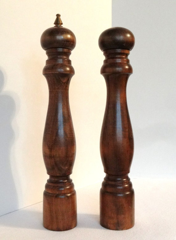Tall 12 inch Wood Salt and Pepper Shaker Mill- Made in Japan