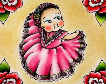 Mexican Kewpie Girl Print