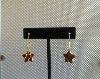 Clear Red Star with gold trim Glass Bead Earrings
