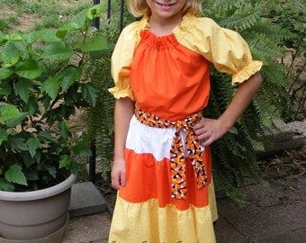 Girls toddler Candy Corn Fall peasant  top and skirt outfit with candy corn sash belt Thanksgiving Halloween autumn