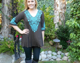Plus Size Tunic, Plus Sizes Clothing, Tunic Top, Tunics, Plus Size Top, Brown with Turquoise, S M L XL 2X 3X, 3/4 Bell Sleeve, V Neck