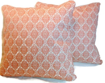 Designer Pillow Covers - Designer Fabric - Ty Pennington Impressions fabric - Coral and Ivory - 18x18 pillow covers - Accent pillows