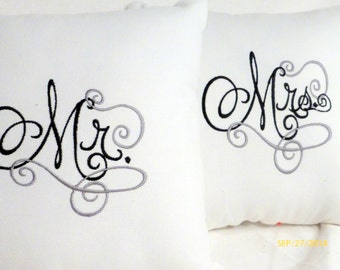 Wedding pillows - Embroidered Mr. and Mrs. pillows - Set of 2 12x12 wedding pillows - black, white and silver - Wedding gift