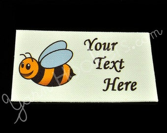 "Bumble Bee - ""Iron On"" or  ""Sew In"" - Cotton Fabric Labels (White) - For Crochet, Knit, Sew and Quilt Heirlooms"
