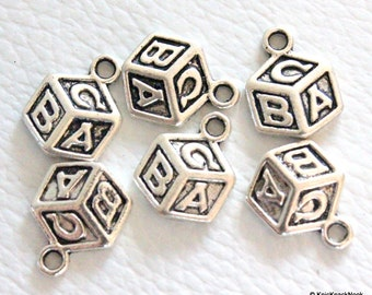 Silver Alphabet 'ABC' Baby Blocks Cube Charms x 6