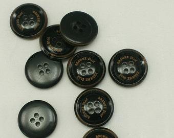 10 pcs 20mm Cow Bone Buttons Round Button Sweater Button Vintage Black Unique button Supplies 4 holes buttons - Annielov Button #49