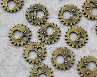 20 Gear Charms Gear Wheel Charms Antiqued Bronze Tone 11 mm