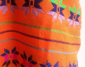 ETHNIC 5 yards x .87 yard Orange Mexican Fabric (cambaya) with colorful mexican embroidery patterns