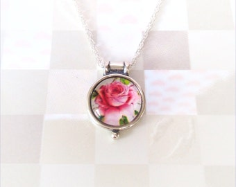 Pink Rose Pendant, Glass Pendant Necklace, Sterling Silver