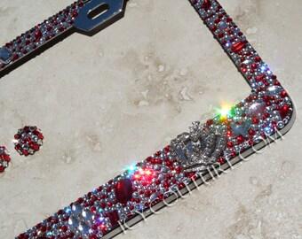 OLD HOLLYWOOD Royalty Crystal Bling License Plate Frame Swarovski crystals