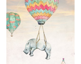 Float On   A5 prints   Alykat Creative Escape from the Circus series   Baby rhino hot air balloon