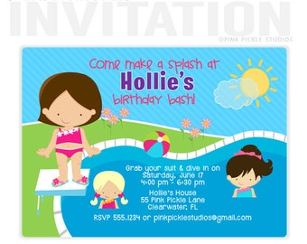 Pool Party Invitation, Pool Party Invite, Pool Invitation, Pool Birthday Party, Pool Party, Pool Party Printables, Splash Party, Pool //55