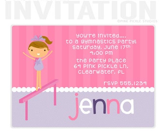 gymnastics party invitations, Birthday Party Invitations, personalized thank you cards, birthday invitations, party invitations / No.64