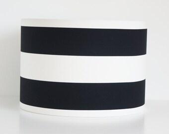 Lampshade Handmade 30 cm Drum lampshade in Black and White Horizontal stripe