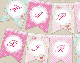 Shabby Chic Birthday Banner Decor
