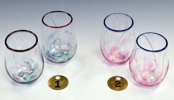 Pair of hand blown stemless wine glasses by snakeoilglassworks - Hand blown stemless wine glasses ...