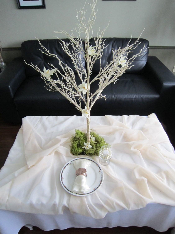 Rustic birch tree centerpiece
