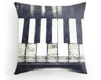 Broken Keys in Black and White, Photo Throw Pillow Cover, Home Decor, Piano Art, Vintage Piano, Old Piano Keys Musical Instrument Decor Gift