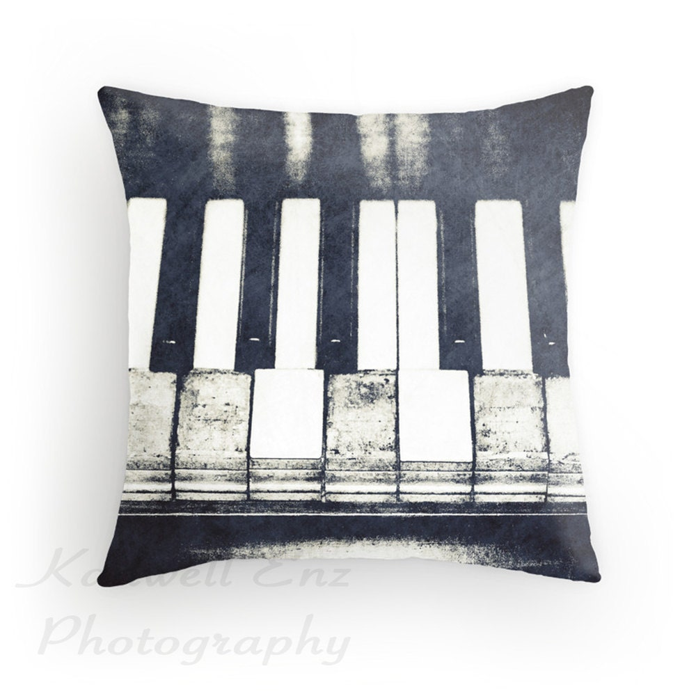 Keyes Decorative Pillow : Broken Keys in Black and White Photo Throw Pillow Cover Home