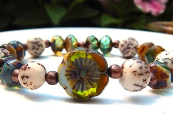 Nature Bracelet, Earthy Bracelet, Salwag Nut Bracelet, Boho Bracelet, Green Bracelet, Czech Bead Bracelet, Boho Jewelry, Rustic Jewelry