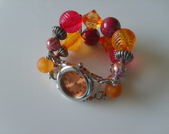 Double Stranded Orange and Pink Beaded Watch Band Set 71