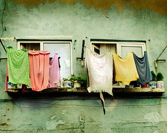 8x10 Print, Fine Art Photography, window, clothes line, Old world, Pastel Colours, Earthy Tones, Mint Green, soft colors