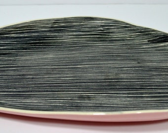 On Sale Mid Century Hedi Schoop Platter Pink and Black - California Pottery