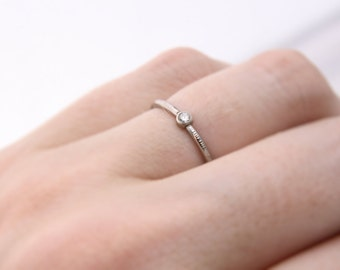 petite diamond ring // 14k gold diamond solitaire // engagement ring // white gold yellow gold // eco friendly gold // conflict free diamond