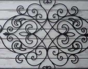 Wrought Iron Wall Decor ~ Bedroom Headboard ~ Black ~ Fleur De Lis ~ Shabby Chic Decor