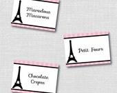 Editable Paris Party Food Tent Cards - Paris Birthday Party - Printable File - INSTANT DOWNLOAD