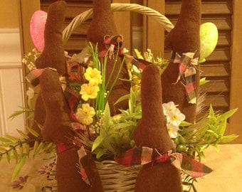 Handmade Primitive Set of Five Fabric Chocolate Easter Bunnies Bowl Fillers, Tucks, Ornies