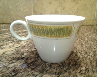On Sale Vintage Franciscan China Coffee Mug with Yellow and Green Leaf Design
