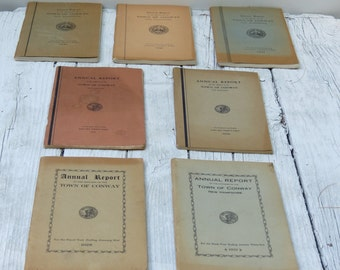 Lot of 7 Vintage Town Reports Conway New Hampshire 1928 1929 1933 1936 1941-43