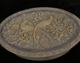 """Vintage Light Blue Oval Incolay Stone Bird floral Carving Jewelry Trinket Box 6.75"""" tall 10"""" wide 3"""" highEroom. 912"""