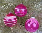 1940s Vintage Pink Christmas Ornaments, Transparent, Unsilvered Glass Ornaments, WW II Era, Free Shipping - CarnabyVintageJewels