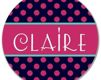 personalized Melamine Plate - custom melamine dish polka dots