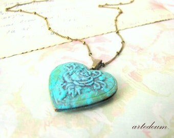 Heart Locket Necklace in Blue Verdigris Personalized message Antique bronze rose Floral Locket Necklace Valentines day gift for her