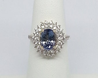 3.14ctw Tanzanite & White Sapphire Yellow Gold Ring Size 5.5